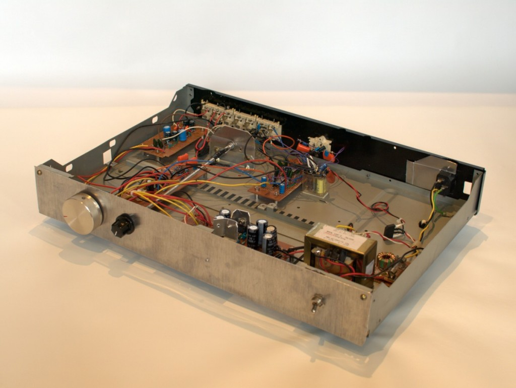 stereo preamp reclaimed chassis with phono input active crossover regulated power supply