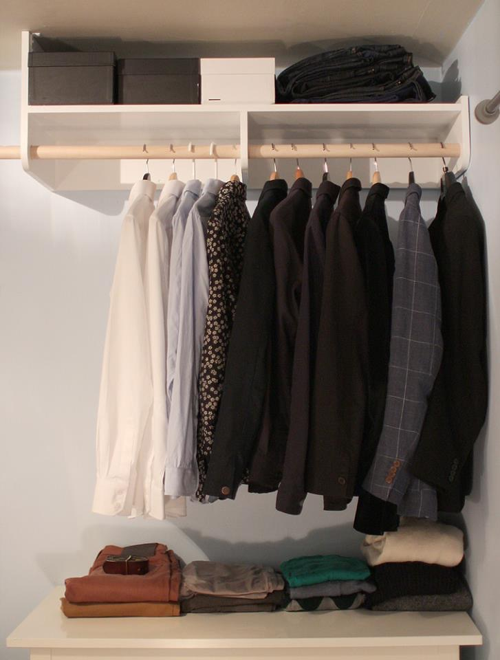 open wardrobe shelf installed