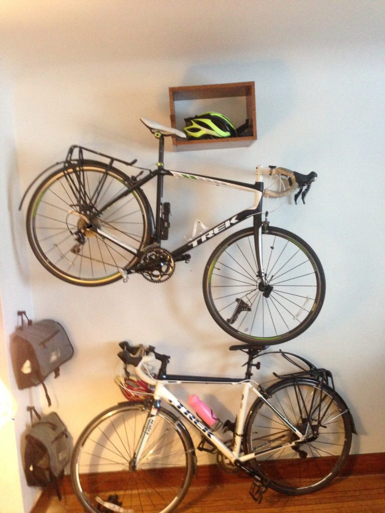installed bike shelf wide view